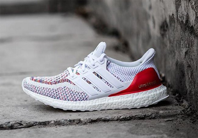 on sale c5c9d b9611 adidas Ultra Boost White Multicolor Red