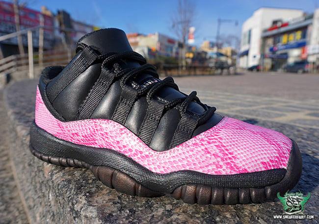 Air Jordan 11 Low Pink Snakeskin Custom