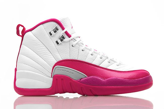 135776ce662525 Air Jordan 12 GS White Vivid Pink