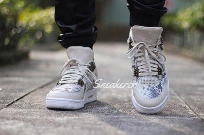 Air Jordan 4 Premium Snakeskin On Feet