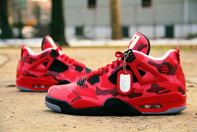 Air Jordan 4 Red Urban Camo Custom