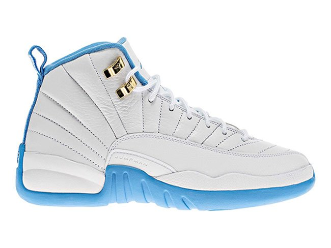 Air Jordan 12 GS White University Blue Metallic Gold Release