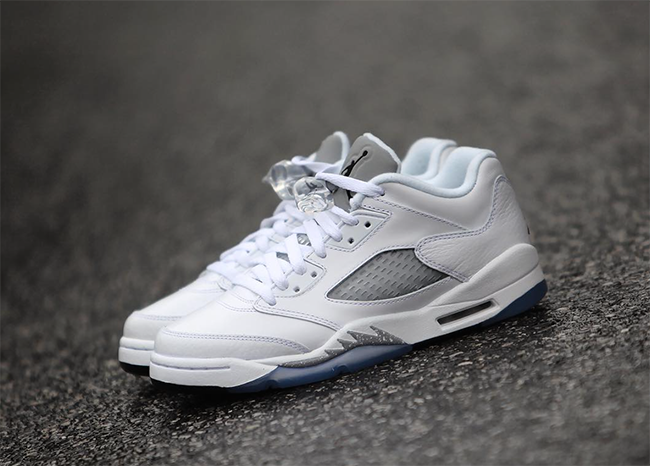 Air Jordan 5 Low GS White Wolf Grey Black