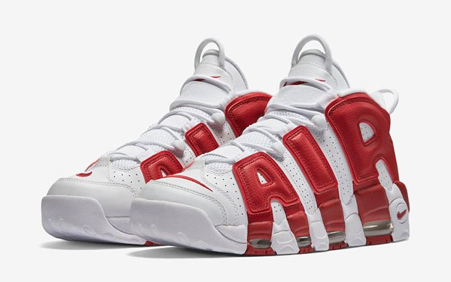 844b0b3a5072 Nike Air More Uptempo White Varsity Red