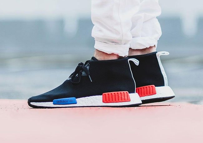 adidas NMD Chukka OG Black Blue Red On Feet