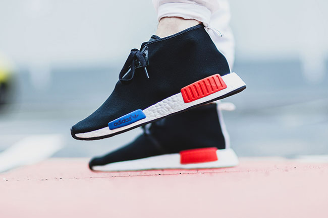 ec44b7a48 adidas NMD Chukka OG Black Blue Red On Feet