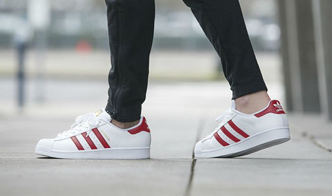 adidas Superstar 80s White Scarlet