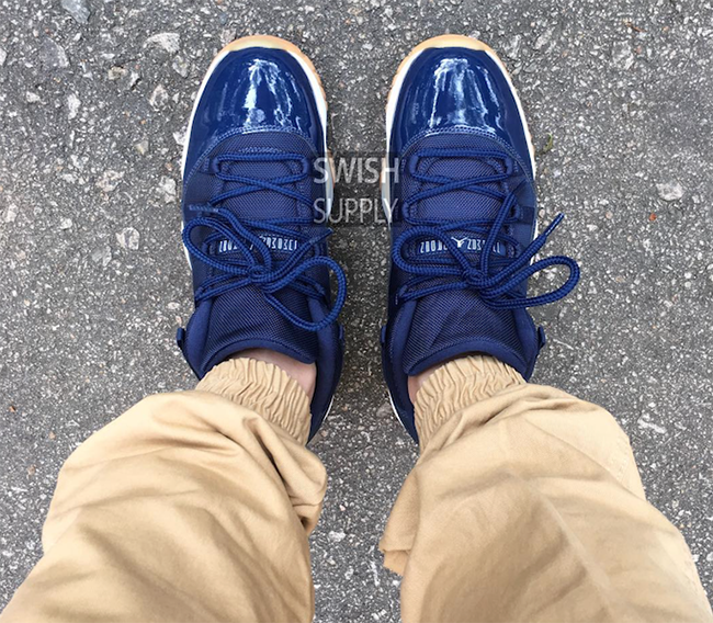 Air Jordan 11 Low Midnight Navy On Feet
