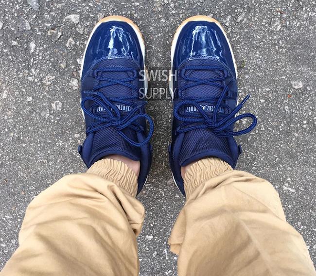 Air Jordan 11 Low Midnight Navy On Feet
