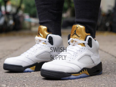 Air Jordan 5 Olympic Gold On Feet