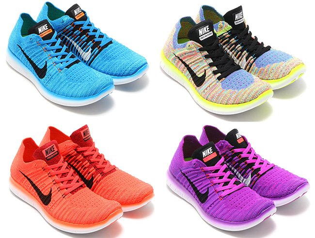 mens nike free rn flyknit running shoes hyper punch