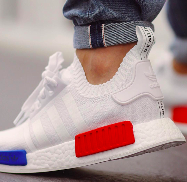 adidas NMD R1 Primeknit OG White On Feet