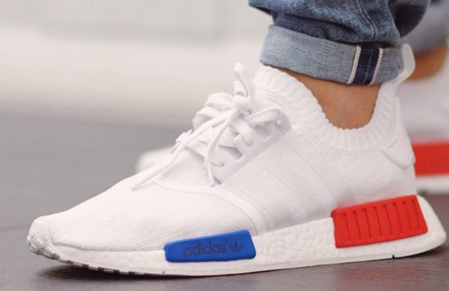 b11cd3068 adidas NMD R1 Primeknit OG White On Feet