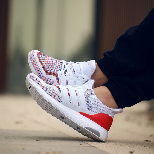 adidas Ultra Boost Multicolor Red On Feet