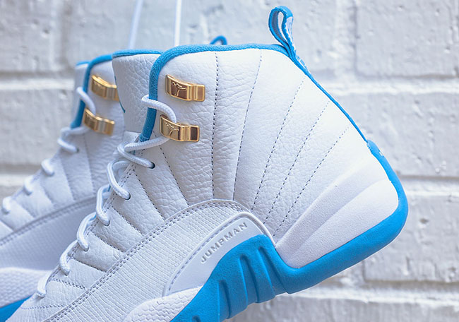 Air Jordan 12 GS Melo White University Blue Gold