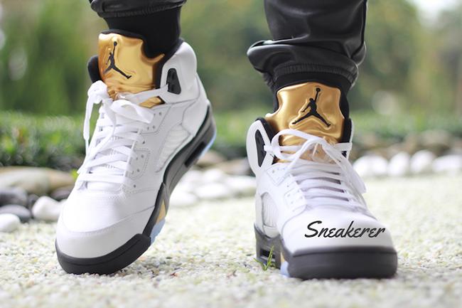 Air Jordan 5 Olympic Gold Medal On Feet