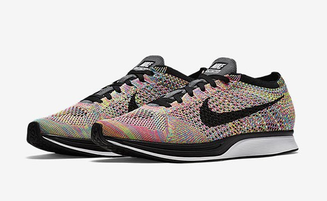 new concept a3fed ce0c0 Nike Flyknit Racer Multicolor Grey Tongue Restock