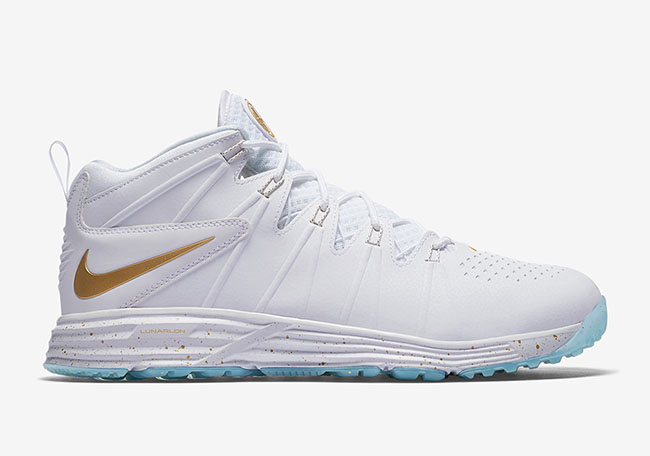 Nike Huarache 4 Turf Lacrosse White Gold