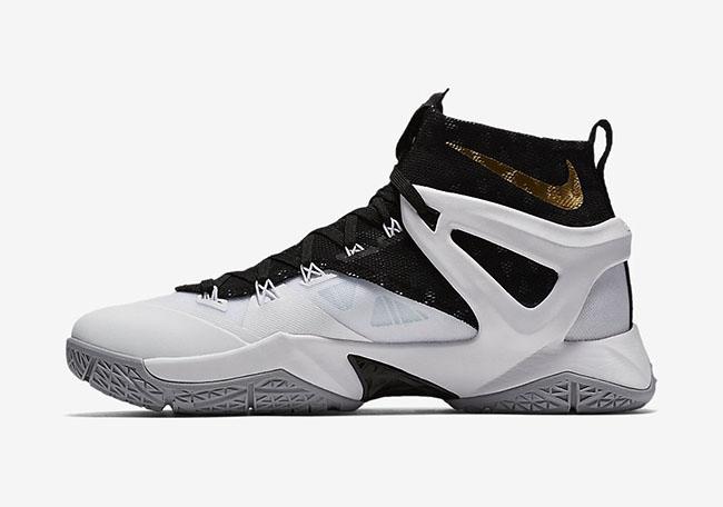 save off 23900 6c434 Nike LeBron Ambassador 8 White Black Gold