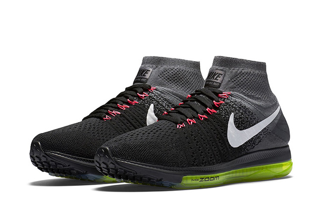the latest 49b73 b3f69 Nike Zoom All Out Flyknit Black Grey Pink Volt