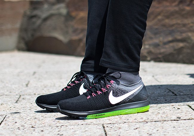62c40877ff1a Nike Zoom All Out Flyknit Black Grey Neon Pink Release