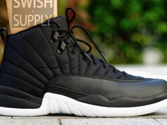 Air Jordan 12 Black Nylon On Feet