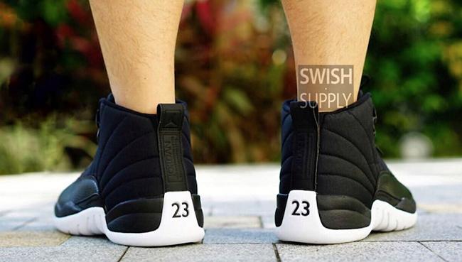 Air Jordan 12 Black Nylon On Feet