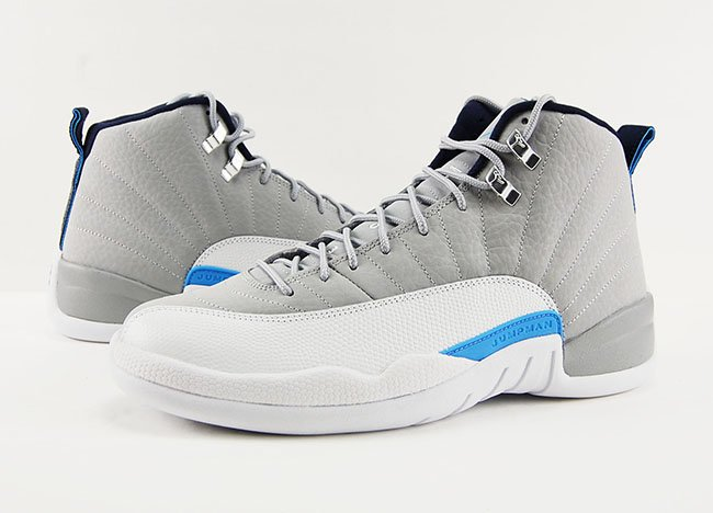 the latest a128a 33043 Air Jordan 12 Wolf Grey UNC University Blue Review On Feet