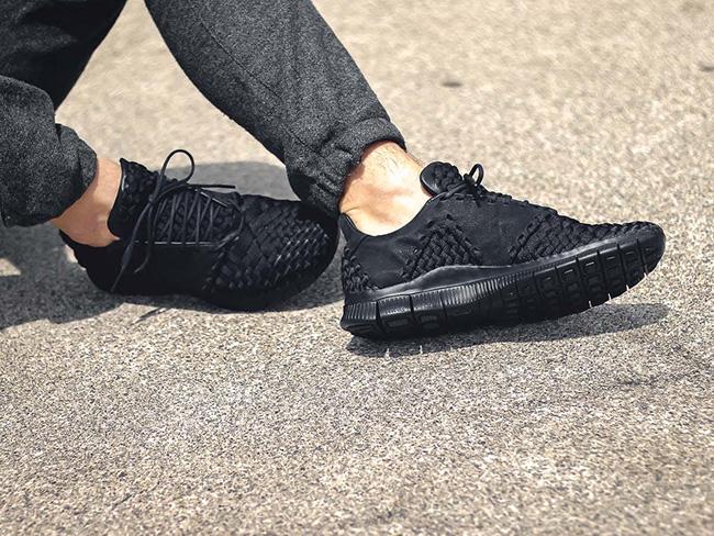 buy popular ce448 aaa97 Nike Free Inneva Woven 2 Triple Black On Feet