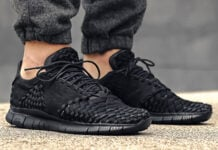 Nike Free Inneva Woven 2 Triple Black On Feet