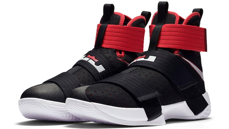 68e91006c9b43 Nike LeBron Soldier 10 Black White Red