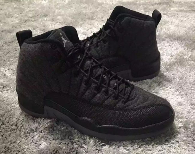 Wool Air Jordan 12 Grey Black