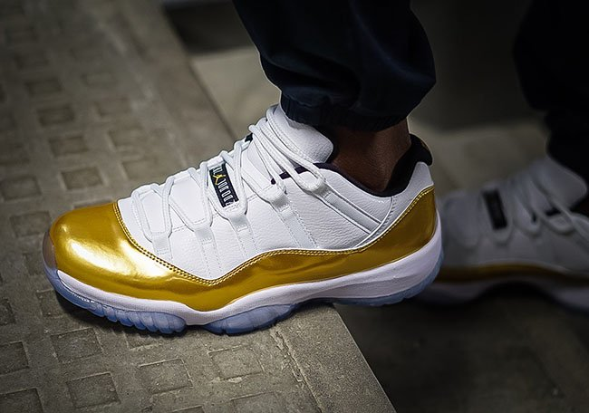 Air Jordan 11 Low Closing Ceremony Gold On Feet