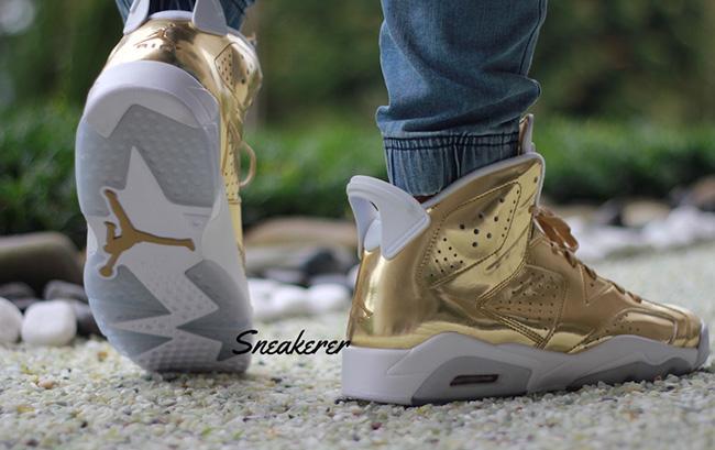 promo code 1ae2a 1395d Air Jordan 6 Pinnacle Gold On Feet