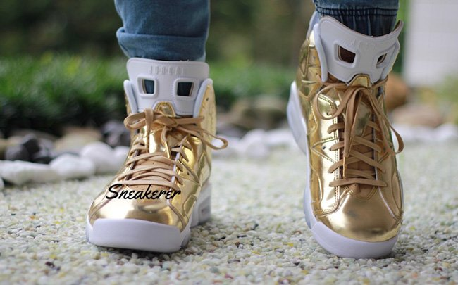 Air Jordan 6 Pinnacle Gold On Feet
