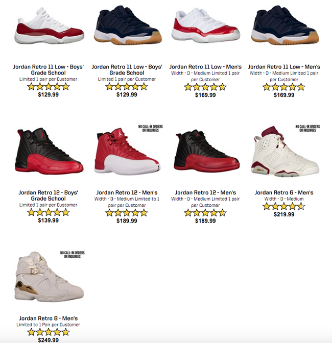 Air Jordan Restock Eastbay July 2016