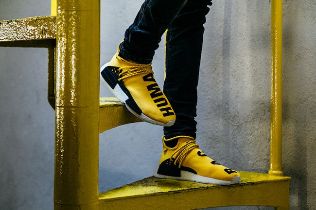 Pharrell Seen Wearing New Adidas NMD Human Race Colorway