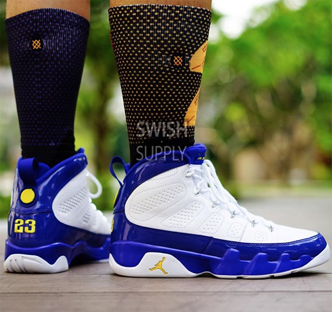 91572b268f78 Kobe Air Jordan 9 Lakers On Feet
