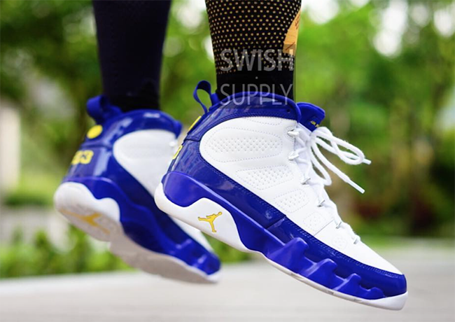 Kobe Air Jordan 9 Lakers On Feet