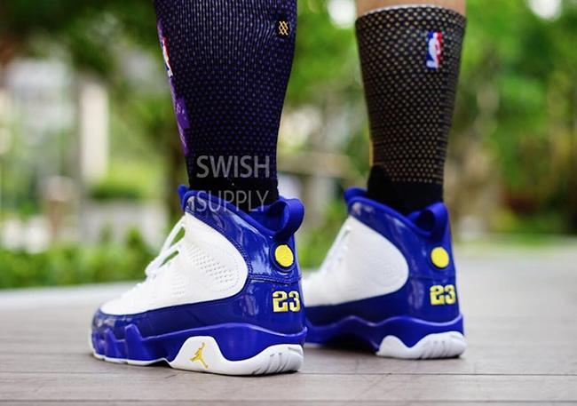 Kobe Air Jordan 9 Lakers On Feet