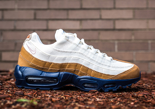 d8e4bb05fcc3 Nike Air Max 95 White Brown Canvas Leather