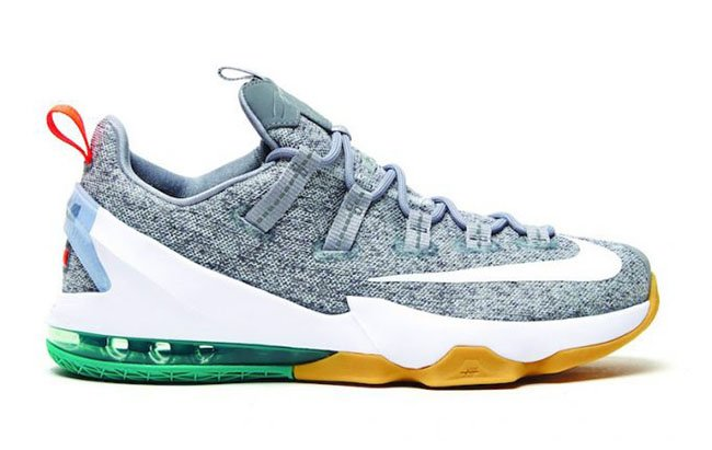 new concept 6f1c3 bc66f Nike LeBron 13 Low Grey Gum Green