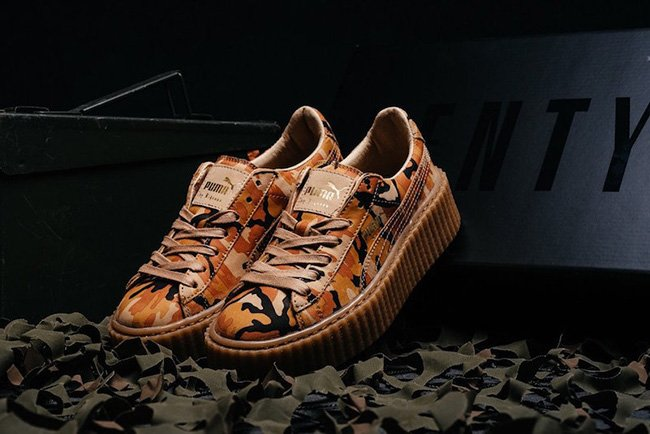 f679c6bc05162 Rihanna Puma Fenty Creeper Camo Orange Release Date