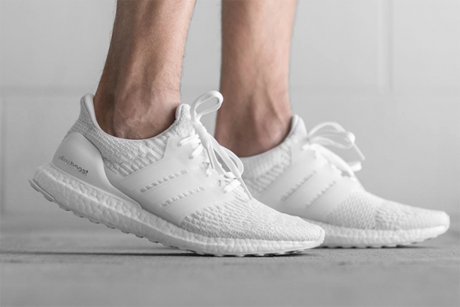 Triple White adidas Ultra Boost 3.0 On Feet