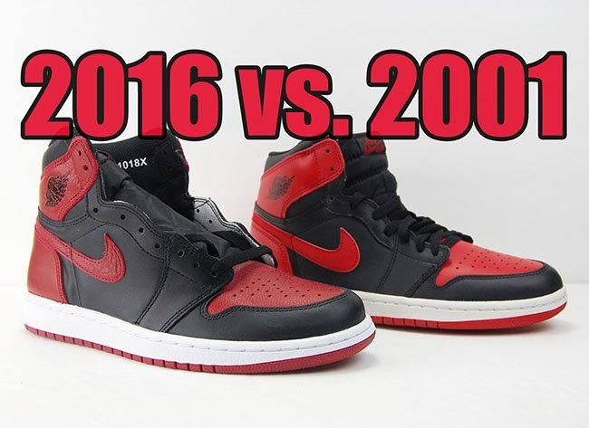 2001 vs. 2016 Air Jordan 1 'Bred' Comparison