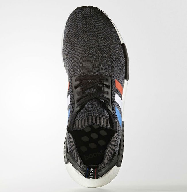 adidas NMD Primeknit Tri-Color Black Red White Blue Stripes