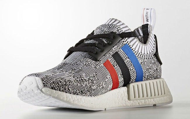 adidas NMD R1 Primeknit Tri-Color White Blue Black Red Stripes