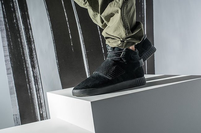 Adidas Tubular Invader Strap Black On Feet