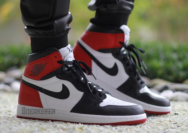 42b261f09950 Air Jordan 1 Retro OG Black Toe On Feet