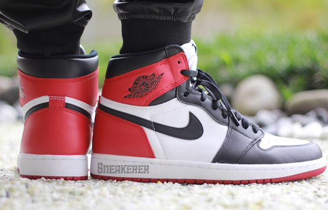 Air Jordan 1 Retro OG Black Toe On Feet